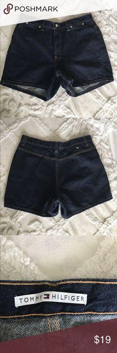TOMMY HILFIGER  DANBURY JEAN SHORTS.  SIZE 12 Tommy Hilfiger Danbury blue jean shorts.  Size 12, dark denim.  Measurements:  waist: 16, hip: 21, inseam: 3, front rise: 10.5, length 14. Tommy Hilfiger Shorts Jean Shorts