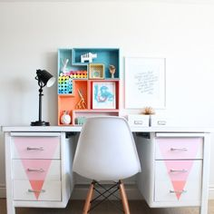 Come check out how we turned this desk from drab to fab with Chalky Paint!