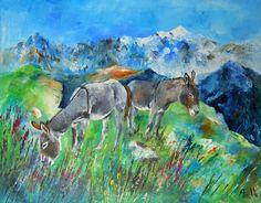 Tableau Les ânes du Mont Blanc - peintures-axelle-bosler : Peintures par peintures-axelle-bosler