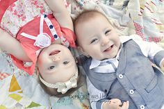 6 month old twins, twins from above photo session, outside posing ideas for twins