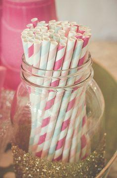 Paper straws in glittered mason jar! Colored solo cups..