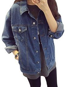 Creabygirls Womens Botton Front Classic Trucker Denim Jacket with Pocket ** You can get more details by clicking on the image.
