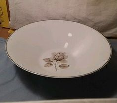 "Towne Fine China Porzeffan Bavaria 9 1/4"" Serving Bowl Moonlight Rose #22985"