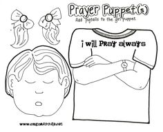 I used this prayer puppets for the sunbeam lesson 4 I can pray to Heavenly Father (http://downloads.sugardoodle.net/prayerpuppets.pdf )   1-The sunbeams absolutely loved this paper bag puppet.