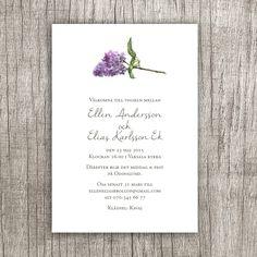 Syren - ett nytt inbjudningskort till ett vår- eller sommarbröllop.