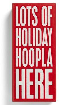 'Holiday Hoopla' Box Sign