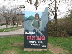 John Rambo cut-out in Hope, BC. www.hopebc.ca