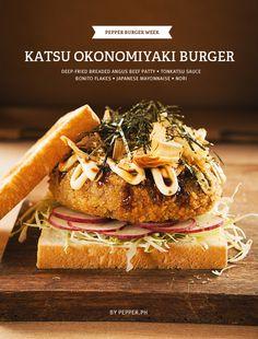 Tonkatsu Okonomiyaki Burger (Deep-Fried Angus Beef Patty - Tonkatsu Sauce - Bonito Flakes - Japanese Mayonnaise - Nori) that's looks interesting enough to eat! Entree Recipes, Burger Recipes, Asian Recipes, Vegetarian Recipes, Cooking Recipes, Tapas, Fusion Food, How To Eat Better, Japanese Food