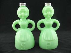 Jadite salt and pepper shakers.This link leads to a for-sale site - ioffer - that's been reported as suspicious for some reason.