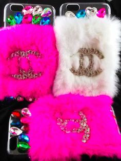 FREE SHIPPING iPhone 6 Plus Designer Logo fur Cell Phone Case Pink White in Cell Phones & Accessories | eBay