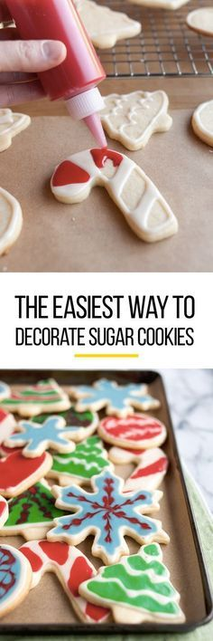 How to Make and Decorate Sugar Cookies with Flood Icing: The Easiest, Simplest Method (with a Video! This is one of those tutorials everyone needs to see for decorating their favorite cookie with fr (Easy Baking Eggs) Christmas Desserts, Christmas Treats, Christmas Baking, Holiday Treats, Holiday Recipes, Christmas Cookie Icing, Diy Christmas, Halloween Desserts, Iced Cookies