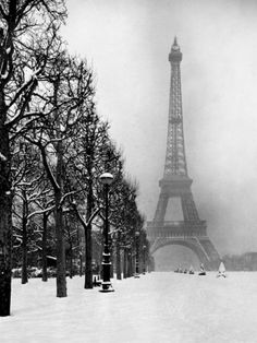 Heavy Snow Blankets the Ground Near the Eiffel Tower Photographic Print by Dmitri Kessel