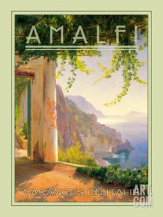 Vintage travel poster for Amalfi, Italy Poster Art, Kunst Poster, Art Posters, Vintage Italian Posters, Vintage Travel Posters, Photo Vintage, Vintage Art, Vintage Pink, Vintage Jewelry