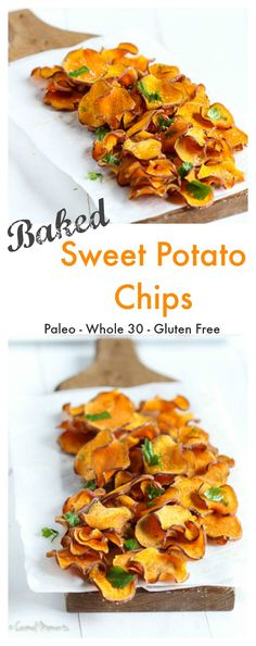 Baked Sweet Potato Chips – Crisp and delicious, these salty chips make the perfect healthy snack. Made with just 4 simple ingredients. // carmelmoments.com