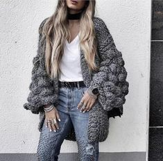 2018 Winter Coats Women Warm Crocheted Lantern Sleeve Cardigan Women Multi Color Knitted Sweater Casaco Femme dark gray One Size Cardigan En Maille, Chunky Knit Cardigan, Kimono Cardigan, Winter Coats Women, Coats For Women, Handgestrickte Pullover, Amazon Clothes, Outfit Trends, Winter Mode