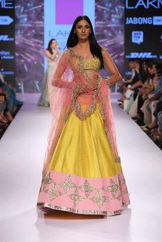 Yellow & soft pink lehenga Anushree Reddy at Lakme Fashion Week Summer Resort 2015 Raw Silk Lehenga, Pink Lehenga, Bridal Lehenga, Lehenga Choli, Indian Lehenga, Bridal Mehndi, Anarkali Dress, Bridal Gown, Bridal Dresses