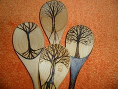 Set of 4 tree spoons, pyrography on wooden spoons ooak made to order by SignsOFire on Etsy