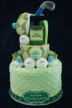 Golf Themed Diaper Cake www.facebook.com/DiaperCakesbyDiana Golf Baby Showers, Baby Shower Fun, Baby Shower Cakes, Shower Party, Baby Shower Parties, Baby Shower Themes, Shower Ideas, Diaper Cake Boy, Diaper Cakes