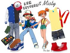 """Inspired by Ash and Misty"" by tresgeek on Polyvore"