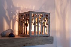 Wooden Tea Light Lantern / Holder With Tree Pattern