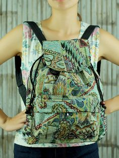 Monogrammed Bohemian Spirit tribal native backpack/ Ethnic rucksack/ holiday bag /Hippie / Boho/ Folk / gypsy / handwoven/ tapestry bag