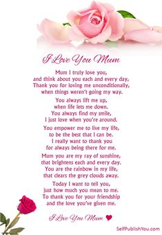 I love you Mum xoxox Love You Mum Quotes, I Love You Mum, Mom Quotes From Daughter, Happy Mother Day Quotes, Daughter Poems, Mother Day Wishes, Happy Birthday Mom From Daughter, Best Mum Quotes, Family Quotes