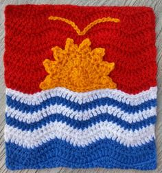 Flag of Kiribati from Anneke S. To learn more about our organization go to www.knit-a-square.com To meet our members and see more of our knitting and crochet go to http://forum.knit-a-square.com/