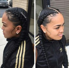 Braids and laid edges by - Black Hair Information Community Black Girl Braids, Girls Braids, 2 Braids, 2 Feed In Braids, Dookie Braids, Beautiful Braids, Gorgeous Hair, Curly Hair Styles, Natural Hair Styles
