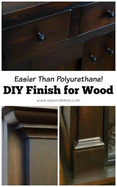 """Looking for great wood finish ideas? This tutorial shows how to make an easy DIY three ingredient wipe on top coat finish. Here's a tip... it's a """"can't mess it up"""" top coat that provides a worry-free flawless finish and it's easier to apply than polyurethane!"""