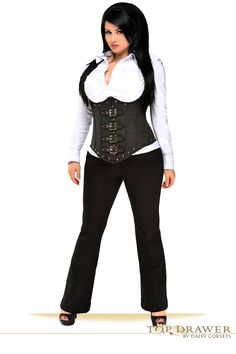 6de25a47a62 Daisy Corsets Top Drawer Steel Boned Pinstripe Underbust Corset Top with  Buckling