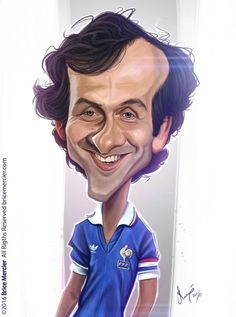 Michel Platini by Brice Mercier. Michel Platini, Animated Cartoon Characters, Cartoon Faces, Cartoon Drawings, Cartoon Art, Funny Caricatures, Celebrity Caricatures, Spitting Image, Black And White Cartoon