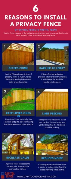See the main 6 reasons why we recommend homeowners in Austin, Texas to install a privacy fence. Visit http://capitolfenceaustin.com for a free consultation.