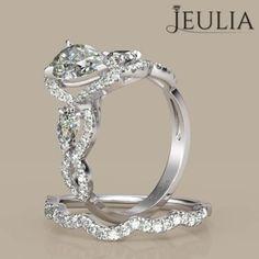 360 view of Jeulia Three Stone Twist Pear Cut Created White Sapphire Women's Wedding Set