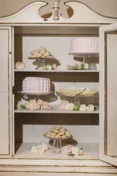 Desserts in vintage armoire cupboard via Ruffled®  Cairnwood Estate Wedding