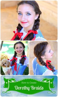 Wizard of Oz Costumes and DIY Ideas Zauberer von Oz Dorothy Braids. Wizard Of Oz Costumes Diy, Dorothy Halloween Costume, Fröhliches Halloween, Holidays Halloween, Diy Costumes, Diy Dorthy Costume, Girls Dorothy Costume, Costume Ideas, Couple Halloween