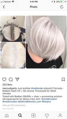 Color y corte divino para esta diva Color and divine cut for this diva Ice Blonde Hair, Silver Blonde Hair, Platinum Blonde Hair, Hair Color Formulas, Redken Color Formulas, Redken Hair Color, Redken Hair Products, Hair Toner, Hair Color Techniques