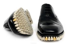 'apex predator' shoes - fantich & young ['in their series apex predator (meaning a predator with no predator of its own), they imagine the world's toughest animal, and attempt to dress it. they created a suit and two pairs of shoes using natural materials that the apex predator could have gathered from his prey. the suit is covered with human hair, with glass eyes & small bones for buttons. the artists created two pairs of shoes to match the suit: oxfords & high heels, both lined with…
