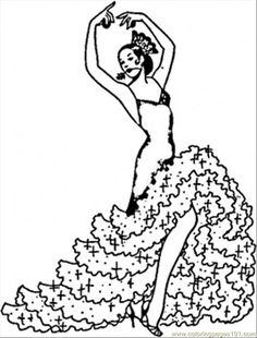 fashion coloring pages | ... Pages Flamenco Girl (Countries > Spain) - free printable coloring page
