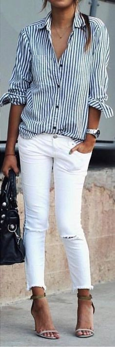 #summer #outfits  Striped Shirt + White Ripped Skinny Jeans