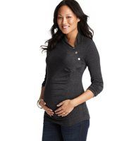 Maternity Button Neck Tunic by Japanese Weekend - Asymmetrical draping at the neckline (plus three cute buttons) lends an effortlessly elegant look to this soft, stretchy tunic. Long sleeves. Ruched at side seam.