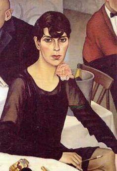 Typus 'neue Frau' im Romanischen Café, Gemälde von Christian Schad, 1928