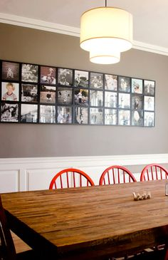 Photo wall: many photos hung close together to achieve a giant frame kind-of-a look. This would look great by our dining table.