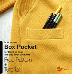 Box Pocket Free pattern and tutorialfor Bamboo coat and any...