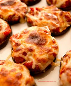 Low-Carb Gluten Free Eggplant Pizza Bites on http://janiceameesglutenfree.com