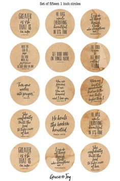 Bible verses Antique paper 25 mm cabochon button by gracieandjoy Printable Labels, Printable Stickers, Printables, Free Printable Quotes, Snapchat Stickers, Snapchat Logo, Candle Labels, Soap Labels, Image Digital