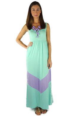 Chevron mint & lavender maxi dress!