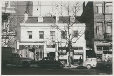 Former residences on Collins St #Melbourne (probably 1850s), sth side, Russell St to R, demolished 1976 along with right hand neighbours for Hyatt Hotel. Script, Melbourne, Street View, Victoria, Australia, History, Script Typeface, Historia, Scripts