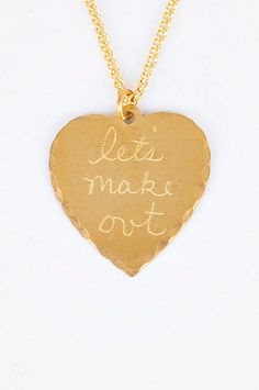 let's make out necklace, gold heart