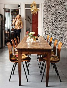 A long skinny dining table vintage farmhouse eclectic home pinterest farmhouse table - Long skinny dining table ...
