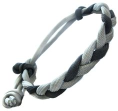 Adjustable Survival Black and Grey 550 Flat Braided Paracord Bracelet $14